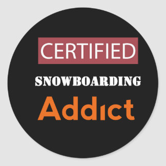 Certified Snowboarding Addict Classic Round Sticker
