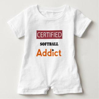 Certified Softball Addict Baby Romper