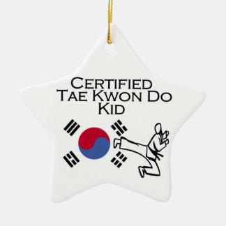 Certified Tae Kwon Do Kid Ceramic Ornament