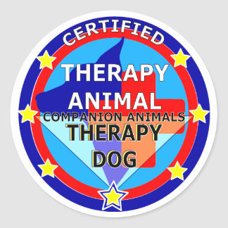CERTIFIED THERAPY ANIMAL - THERAPY DOG CLASSIC ROUND STICKER