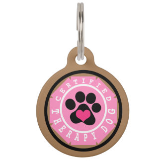Certified Therapy Dog Pink Badge Pet Name Tags