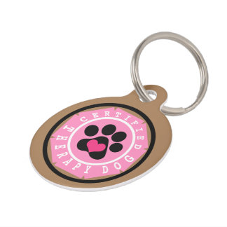 Certified Therapy Dog Pink Badge Pet ID Tag