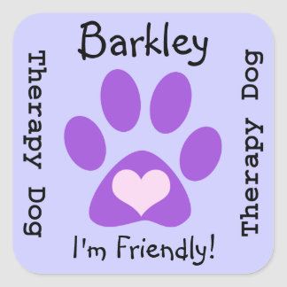 Certified Therapy Dog Purple Paw Square Sticker