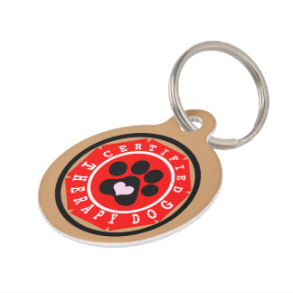 Certified Therapy Dog Red Badge Pet Name Tag