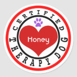 Certified Therapy Dog Red Heart Classic Round Sticker