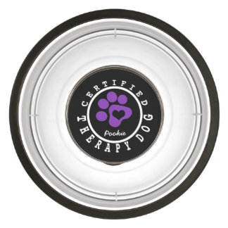 Certified Therapy Purple Paw and Heart Bowl