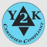 Certified Y2k Compliant Round Stickers