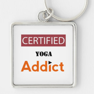 Certified Yoga Addict Silver-Colored Square Keychain
