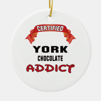 Certified York Chocolate Addict Double-Sided Ceramic Round Christmas Ornament