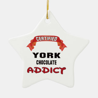 Certified York Chocolate Addict Double-Sided Star Ceramic Christmas Ornament