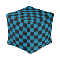 Cerulean and Black Checkered Pouf