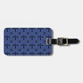 Cerulean Blue And Black Fleur De Lis Pattern Bag Tag