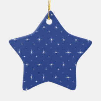 Cerulean Blue And Bright Stars Pattern Christmas Tree Ornament