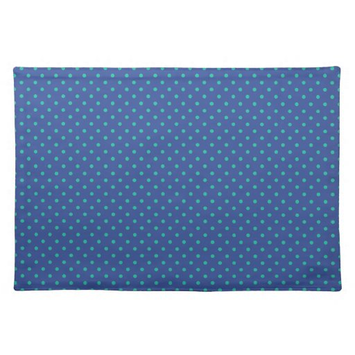 Cerulean Blue And Emerald Green Polka Dots Pattern Place Mats