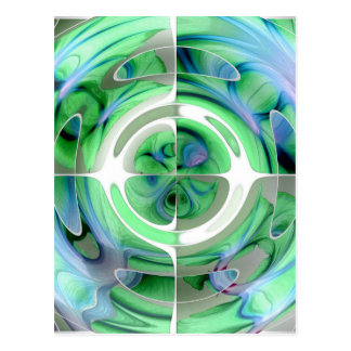 Cerulean Blue and Jade Abstract Collage Postcard