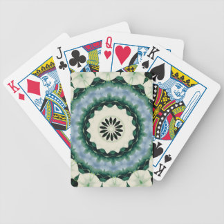 Cerulean Blue and Sacramento Green Mandala Bicycle Playing Cards