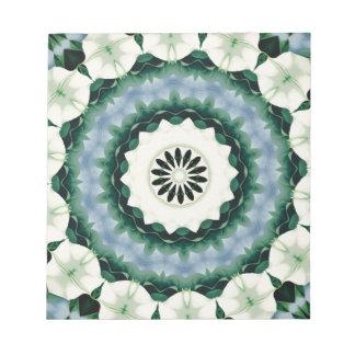 Cerulean Blue and Sacramento Green Mandala Notepad