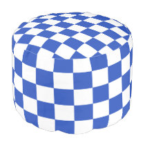 Cerulean Blue and White Checkered Pouf