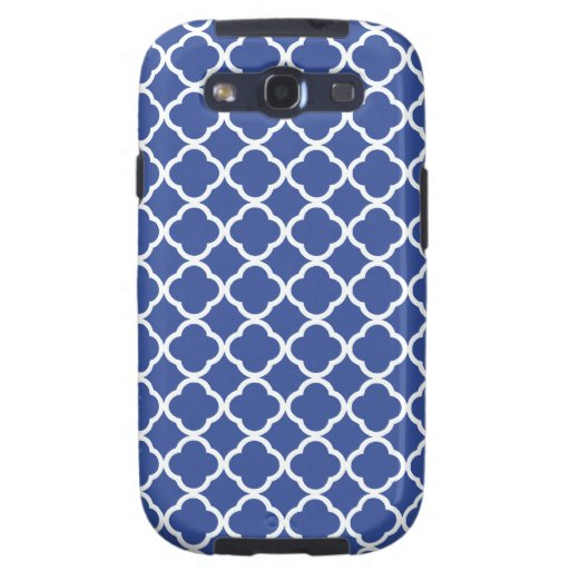Cerulean Blue And White Quatrefoil Pattern Samsung Galaxy S3 Cover