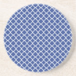 Cerulean Blue And White Quatrefoil Pattern Drink Coaster
