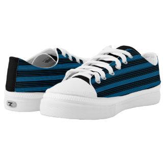 Cerulean Blue & Black Stripes Printed Shoes