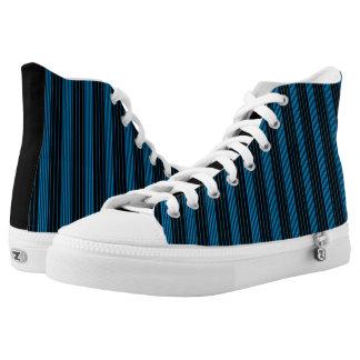 Cerulean Blue & Black Stripes Vertical Printed Shoes