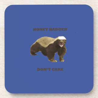 Cerulean Blue Honey Badger Don't Care Pattern Drink Coasters