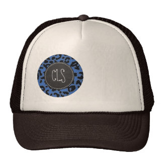 Cerulean Blue Leopard Animal Print; Chalk look Trucker Hat