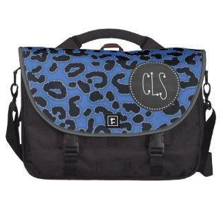 Cerulean Blue Leopard Animal Print; Chalk look Bag For Laptop