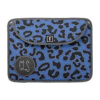 Cerulean Blue Leopard Animal Print; Chalk look MacBook Pro Sleeve