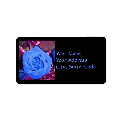 Cerulean Blue Rose Address Labels