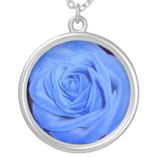 Cerulean Blue Rose necklace