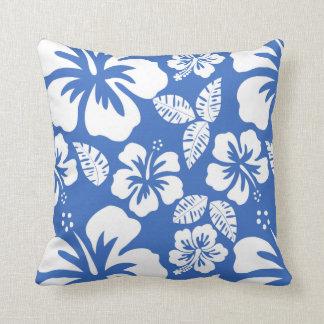 Cerulean Blue Tropical Hibiscus Throw Pillows
