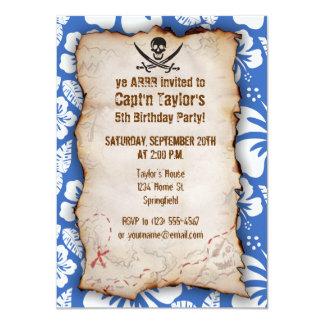 """Cerulean Blue Tropical Hibiscus; Pirate Flag 4.5"""" X 6.25"""" Invitation Card"""