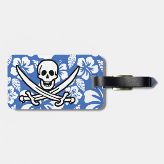 Cerulean Blue Tropical Hibiscus; Pirate Flag Tags For Luggage