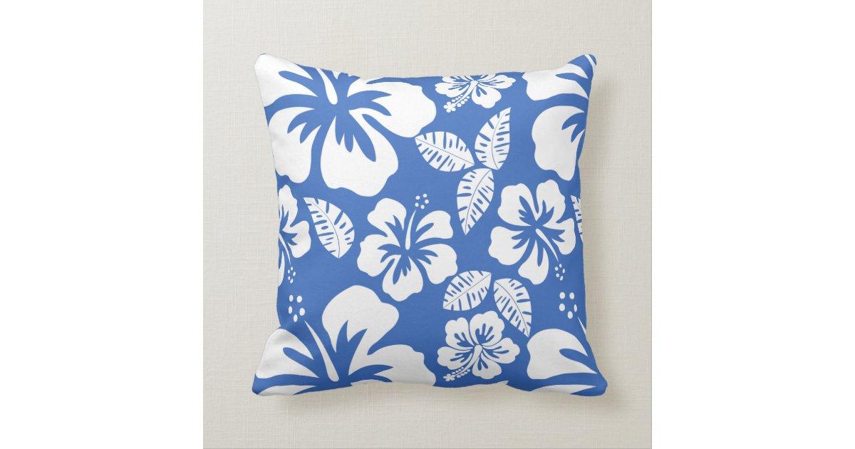 Cerulean Blue Throw Pillows : Cerulean Blue Tropical Hibiscus Throw Pillow Zazzle