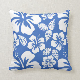 cerulean blue tropical hibiscus throw pillow - Blue Decorative Pillows