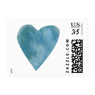 Cerulean Blue Watercolor Heart Postage