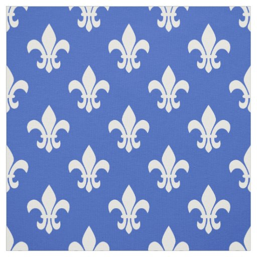 Cerulean Blue White Fleur De Lis Pattern Fabric Zazzle Com