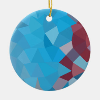 Cerulean Frost Blue Abstract Low Polygon Backgroun Ceramic Ornament