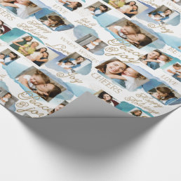 Cerulean Holiday 10 Photo Collage Wrapping Paper
