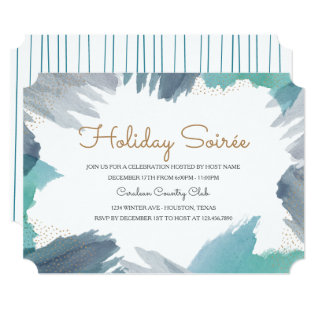 Cerulean Holiday Party Card at Zazzle