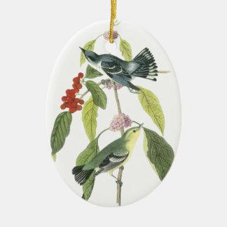 Cerulean Warbler, John Audubon Double-Sided Oval Ceramic Christmas Ornament