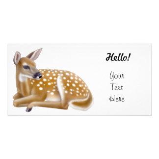 Cervatillo atado blanco de los ciervos tarjeta fotográfica personalizada