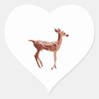 Cervatillo - ciervo del bebé pegatina en forma de corazón