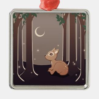 Cervatillo del bosque con las luciérnagas y el adorno navideño cuadrado de metal