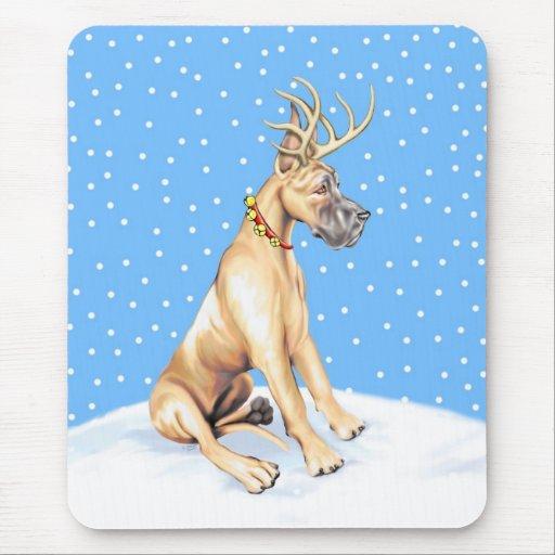 Cervatillo del navidad del reno de great dane alfombrillas de ratón