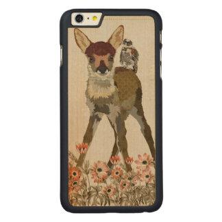 CERVATILLO FLORAL y caso tallado BÚHO del iPhone Funda De Arce Carved® Para iPhone 6 Plus