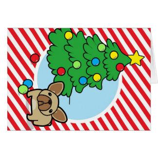 Cervatillo Frenchie con el árbol de navidad en ray Felicitacion