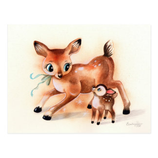 Cervatillo y mamá Deer Cute Kitsch del bebé Postales